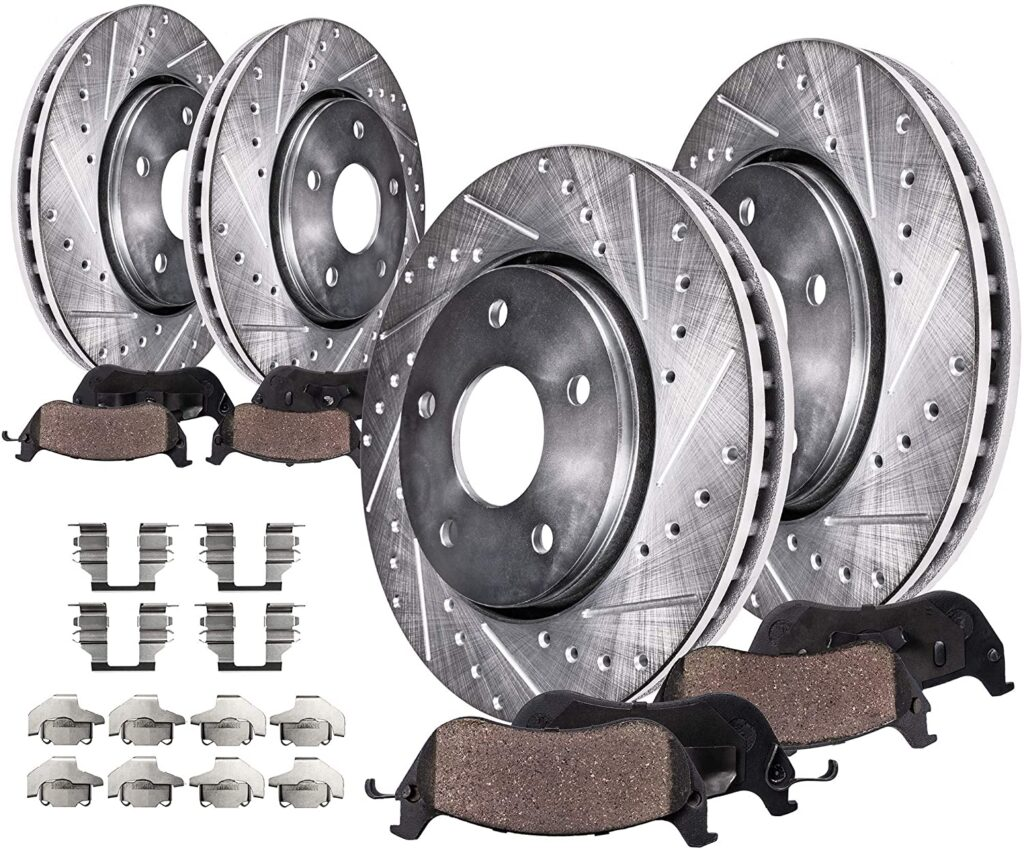 Detroit Axle - Front Rear Disc Rotors, Ceramic Brake Pads (Drilled and Slotted Performance) Brake Kit